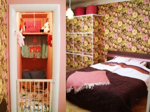 Bedroom with old wallpaper and a babycot in the closet. For Äntligen Hemma, TV4 2004.