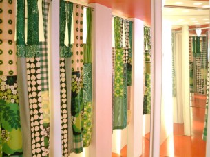 CLICK ON TITLE FOR MORE IMAGES Combination 2004. Lamp and dressing room curtains made from second hand fabrics.