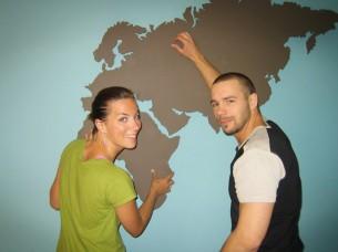 World map in MDF made for the TV-show Äntligen Hemma in 2005