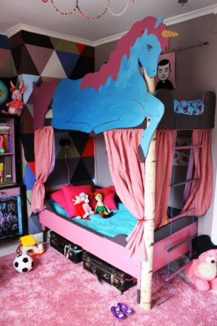 Bunk bed made for my kids in 2011. My daughter wanted a unicorn bed and I had to oblige.